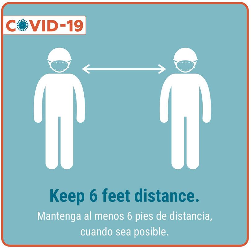 Keep 6 feet distance.